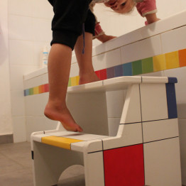 Personalized Custom Step Stool - Mondrian style