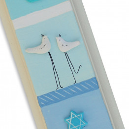 Hand made Mezuzah Case,Blue Mezuzah with clay birds