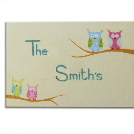 Personalized door sign, Family custom made door sign -owls and stars front door sign