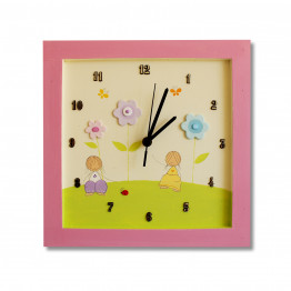 Nursery Girls Wall decor, Girls wall clock, baby flowers wall decal