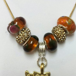 Pandora Style Necklace Murano Glass with Chai