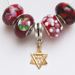 Gold Star of David with Chai and Pandora Style beads.