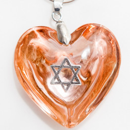 Murano glass heart necklace with star of David(1)