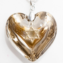Gold Murano Glass heart necklace with Star of David