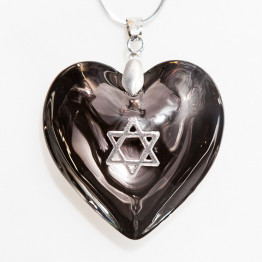 Black Murano glass heart necklace with Star of David