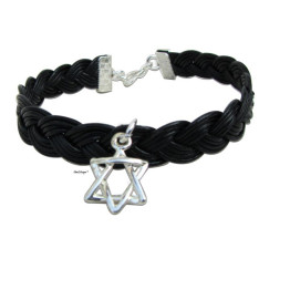 Chanukka gift - Men bracelet silver Star of David on black leather Jewish jewelry