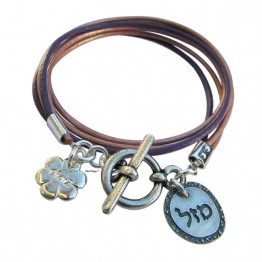 Silver Mazal - Luck charm Jewish leather wrap bracelet, Bar Mitzva, Bat Mitzva