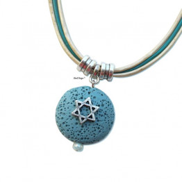Jewish gift - Silver Star of David on Turquoise pendant leather necklace for Jewish jewelry Bat Mitzva gift