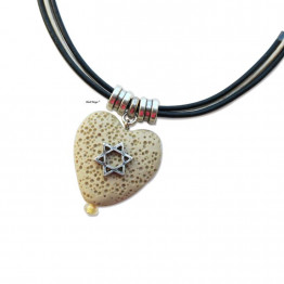 Silver Star of David natural Heart stone pendant necklace for Bat Mitzva gift Jewish jewelry