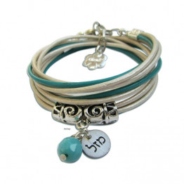 Silver MAZAL with turquoise leather wrap bracelet Jewish jewelry, Chanukka gift
