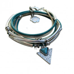 Silver beads with Turquoise stone layers leather wrap bracelet for Jewish jewelry