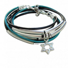 Silver star of David Turquoise leather wrap bracelet for Jewish jewelry