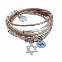Silver  Mazal and Star of David leather wrap bracelet