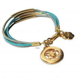 Bat Mitzvah Gold Star of David jewelry with Turquoise leather women/men bracelet ChenZ SALE