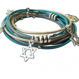 Silver Star of David leather womens wrap bracelet for Jewish jewelry