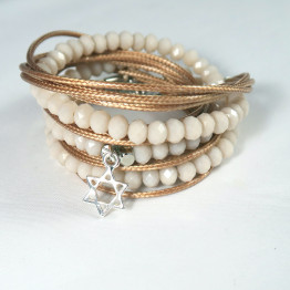 Silver Star of David , crystals wrap bracelet, layered wrap bracelet, beaded wrap bracelet, Jewish bracelet,  Jewish bracelet