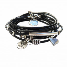 God Bless you black leather wrap bracelet
