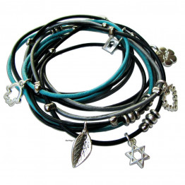Silver Womens Hamsa kabbalah bracelet with Star of David jewelry leather wrap bracelet for Chanukka gift