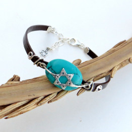 Star of David Bracelet on Turquoise Stone for Women