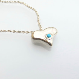 Heart Shaped Necklace with Turquoise Stone.
