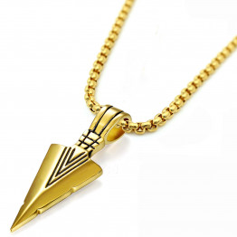 men's Gold Native  Arrow Head Pendant Stainless Steel Necklace, Gift Necklace, Jewelry Necklace, Necklace father Gift, Unique Jewelry, Jewelry Gifts, Necklace Jewelry