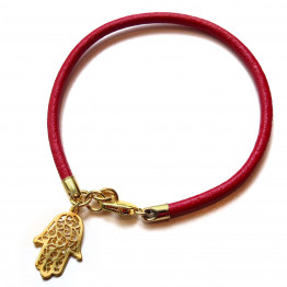 Kabbalah Red silk Hamsa string goldfilled bracelet