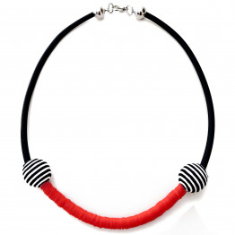 Black silicone & Red plastic beads necklace | Handmade necklace | Statement Jewelry | Unique Jewelry | Jewelry Necklace | Necklace Jewelry