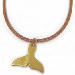 Camel genuine leather unisex & gold plated whale tail pendant necklace, Jewelry Necklace, Necklace Mother Gift, Necklace Jewelry, Jewelry