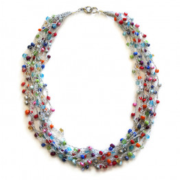 Knitted Silver thread colorful beads necklace | Handmade bead work necklace | Statement Jewelry | Women's necklace