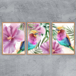 Set of 3 watercolor drawing Floral, Printable Wall Art, Instant download