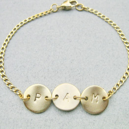 3 Initials bracelet, Customized Bracelet, Bat Mitzvah gift, Gold or Silver, Bridesmaids gifts, Mom/Daughter,