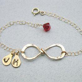 Infinity 2 two initials Bracelet, Gold filled Infinity & Birthstone Bracelet, Best friend bracelet, Mother/Daughter.