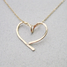 Gold open heart necklace, Gold filled hammered open heart, Infinity necklace, Eternity heart,