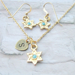Gold Star of David set of necklace & earrings, Bat Mitzvah gift, Hanukkah gift, Jewish symbol