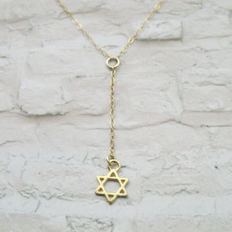 Perfect gift for women Star of David lariat necklace, Bat mitzvah gift, Gold Magen David lariat necklace, by Sara Gal.