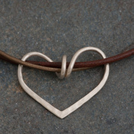 Silver LOVE heart leather necklace , Heart pendant - Hanging on a Love string. Big heart pendant. Valentine's day gift