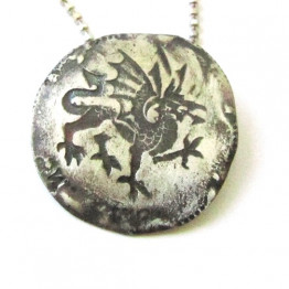 Silver coin necklace - The dragon coin vintage style. Unisex. Holiday gift idea