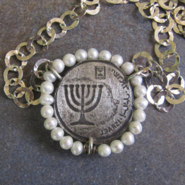 The Menorah - silver coin necklace with pearls/Hanukkah Gift. Judaica jewelry. Kabbalah Jewelry