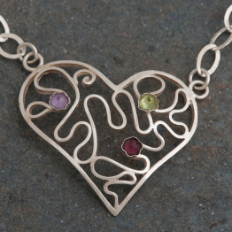Unique Heart Necklace.Silver Heart Pendant and Natural Stones. Wavy design. Valentine's Day Gift. One of a Kind