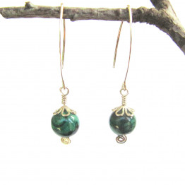Malacite Green Ball and Sterling Silver Cap Bead Earring. Natural Stones Earrings. Valentine's Day Jewelry Gift Idea
