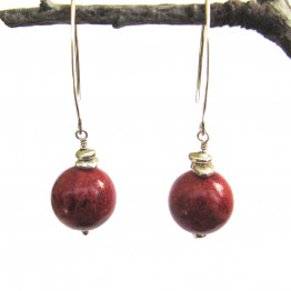 Rusty Red Coral Ball and Sterling Silver Nugget Beads Earring. Natural Red stones earrings. Valentine's Day Gift Idea