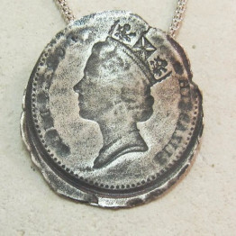 Silver Coin Necklace.Queen Coin Jewelry. Mother Mom gift idea