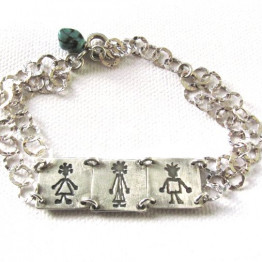 Personalized Silver Bracelet - custom made personalized family jewelry - My lovely family