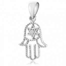 Silver 925 Hamsa pendant set with crystals