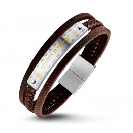 New!  Leather bracelet S.STEEL with Gold PVD coating, and Hebrew Priestly Blessing(SA1912-BR)