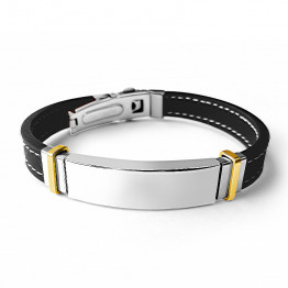 Best Seller ! Beautiful Stainless Steel AHARONI Silicone Bracelet  For Engraving(SA1839)