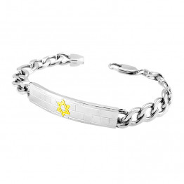 Beautiful AHARONI Stainless Steel Bracelet  With a gold Star of David in the middle. in Gold PVD coating. (SA1324)