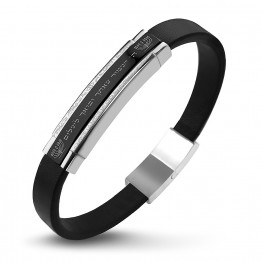 Beautiful S Steel 316 leather bracelet(Hebrew-ה' ישמור צאתך ובואך לשלום). in Black PVD coating.(SA1929)