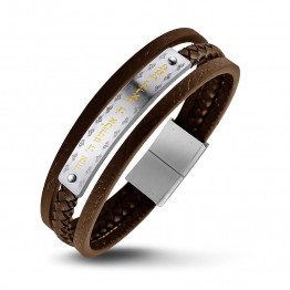 "Beautiful S.Steel 316 Brown leather bracelet Shema Yisrael Hebrew:( ""Hear, [O] Israel"")in Gold PVD coating.(SA1916-BR)"