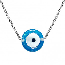 AHARONI StainlessS.Steel Blue Eye Pendant for Protection Against The Evil Eye. Come's with S.Steel Chain 50 CM and Gift Box!(GSS005)